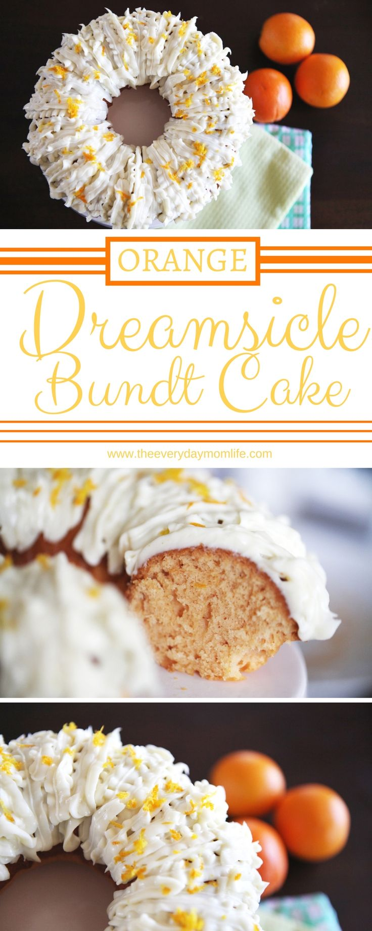 The perfect spring cake recipe! Orange Dreamsicle Cake With Vanilla Cream Cheese Frosting. Refreshing, bright and light this orange cake is great for parties, Easter or just because you want to bake something yummy!