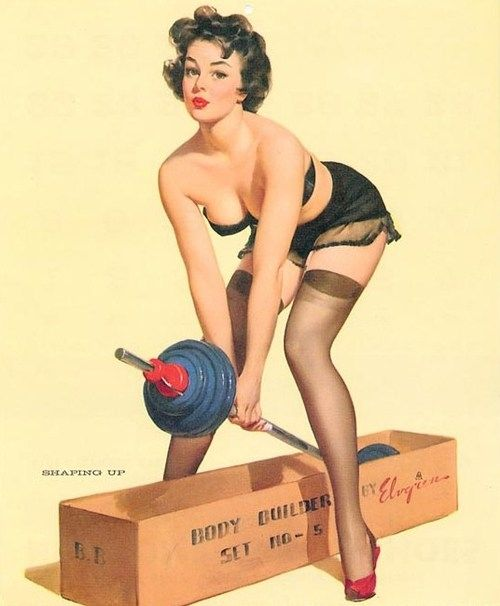 "Weight Lifting Pinup Girl | Tattoo Ideas & Inspiration - PInups | Gil Elvgren - ""Shaping Up"""