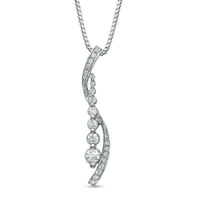 Zales 1/5 CT. T.w. Diamond Lotus Teardrop Pendant in Sterling Silver ozNLlz3HW3