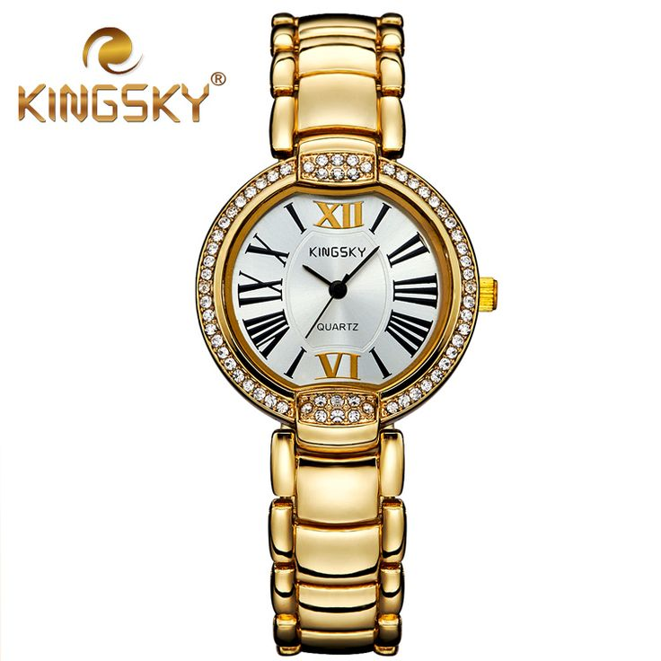Lxury Diamond Roman Numerals Gold Quartz Kingsky Watch Dress Fashion Casual Alloy Lady Two Tone Classic Rose Gold Wrist Watches-in Women's Watches from Watches on Aliexpress.com | Alibaba Group