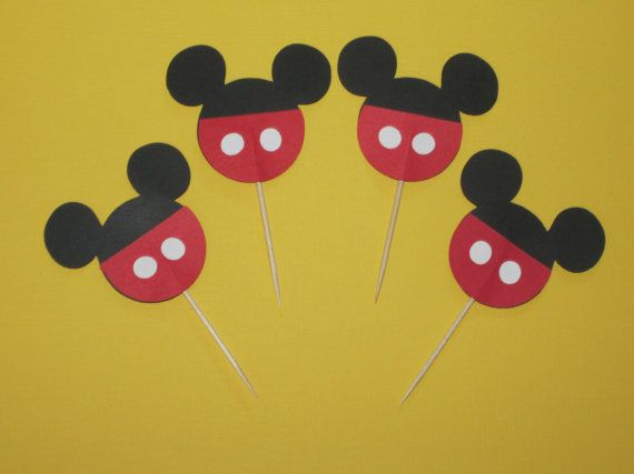 Custom Mickey Mouse Cupcake Toppers Set of by LittleBirdiPaperShop