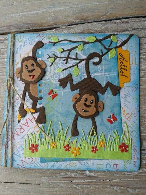 Kaart met aapjes van Marianne Design, gemaakt door Diana