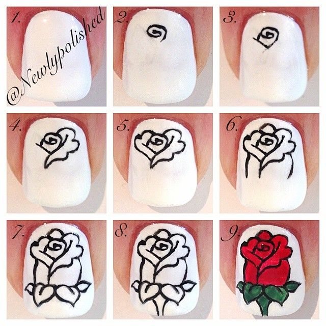 Step by step rose manicure tutorial