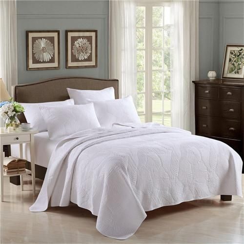 3pcs Embroidery White Wedding Bedding Cover Set 100 Cotton Quilt
