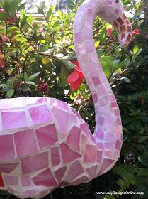 Lucy Designs: Pink Mosaic Flamingo Garden Art Made from Plastic Pink Dollar Store Flamingo