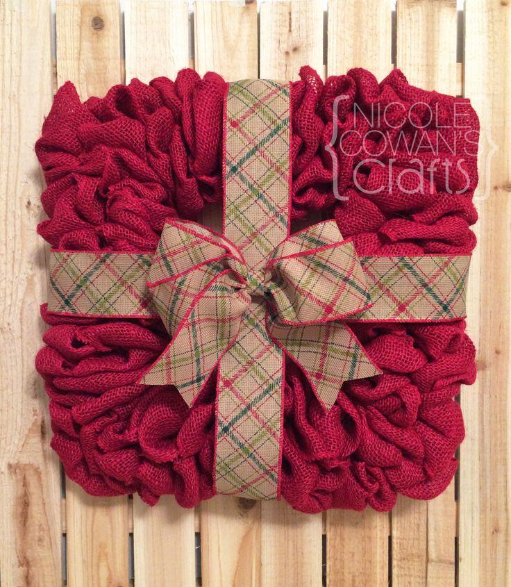 SALE Christmas Burlap Wreath - Christmas Present Wreath - Square Burlap Wreath - Red, Green, Burlap - Christmas Decor - Home Decor by NicoleCowansCrafts on Etsy