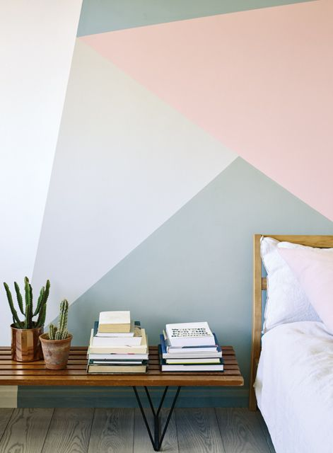 Trend! Geometrics. Use paint and a steady hand to create a focal point in your room. Here we have used Storm, Yes Your Honour, Skylon Grey, Orchard Pink and Graphite http://www.firedearth.com/paint