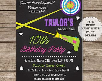 Laser Tag Birthday Party Invitation  Laser Tag Party  Laser