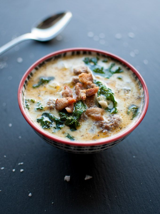 Sausage bacon potato and kale soup recipe gardens zuppa toscana soup and olives for Olive garden potato sausage kale soup recipe
