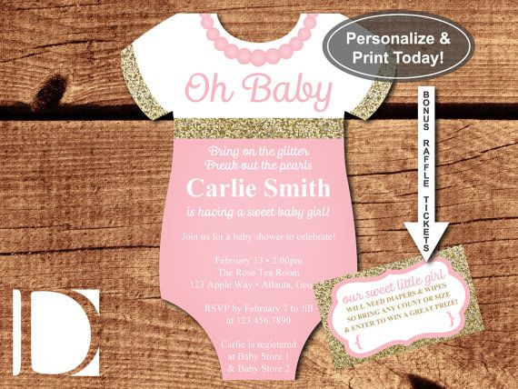 Oh Baby Shower Invitation, Onesie Invitation, Pearls, Glitter, Pink, Gold, DIY Word Template, BONUS Diaper Raffle Tickets