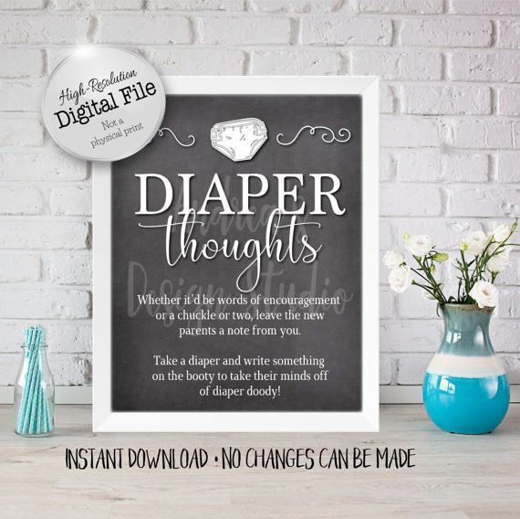 Diaper Thoughts Sign Baby Shower Sign Baby Shower