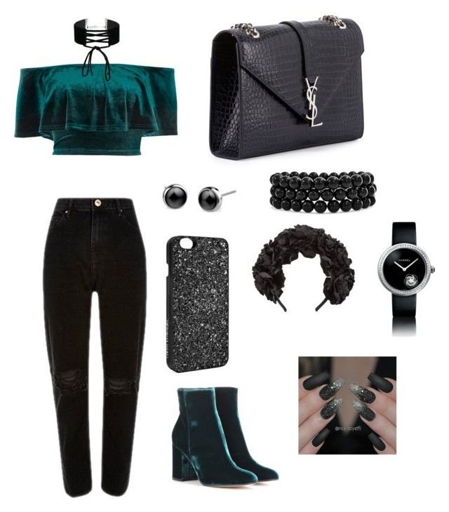 Velvet queen by magkulinska on Polyvore featuring polyvore fashion style River Island Gianvito Rossi Yves Saint Laurent Bling Jewelry Chanel Miss Selfridge Victoria's Secret Gucci clothing