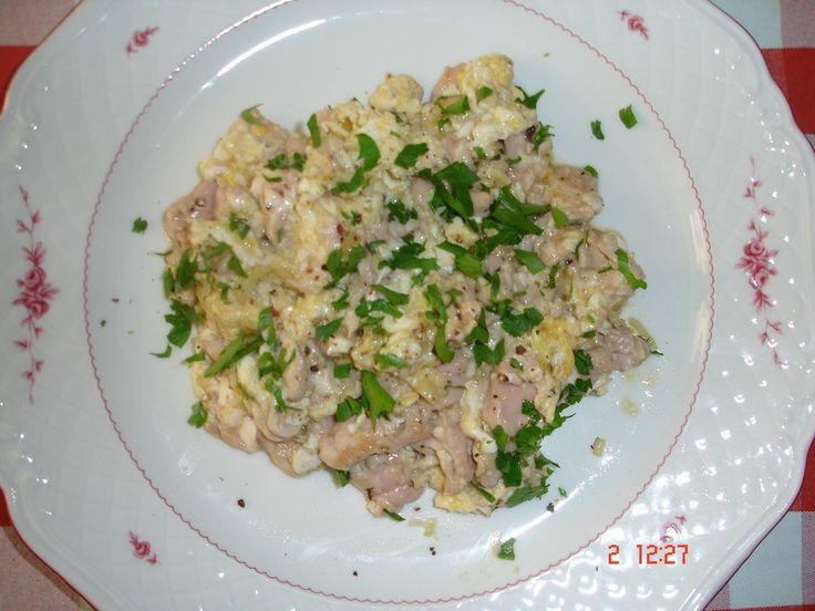 pork brain with scrambled eggs, original recipe uses calf brain. believed to make wise (and fat).