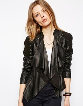 ASOS Leather And Suede Waterfall Jacket
