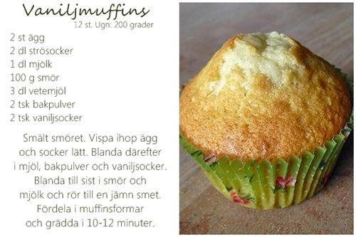 Gott folk, här är världens bästa recept på vaniljmuffins (och chokladmuffins). Jag använder det här i stort sett varje gång jag gör muffins...