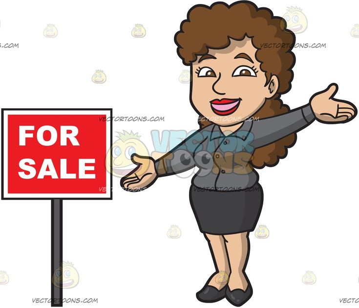 A Happy Female Real Estate Agent:   A woman with curly brown hair in wearing a dark gray blouse black skirt and shoes smiles while presenting a red for sale sign