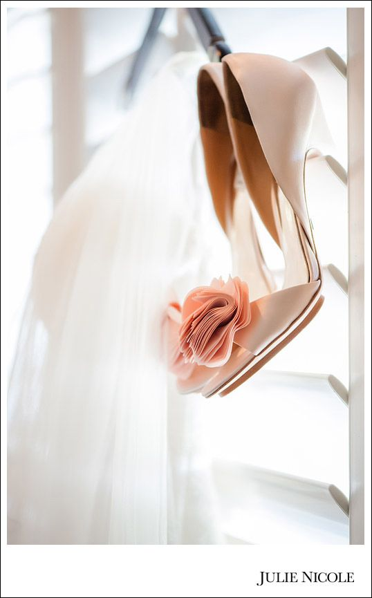 Wedding Shoes | Hanging Up | Peach Julie Nicole Photography