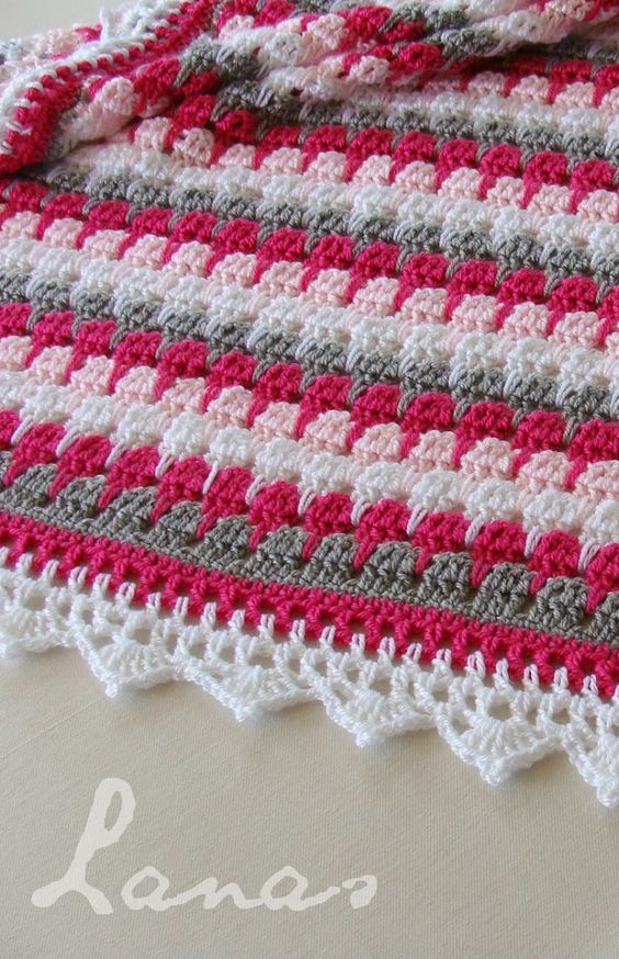 I found a pattern on a beautiful pink blanket. Perfect as a gift for a