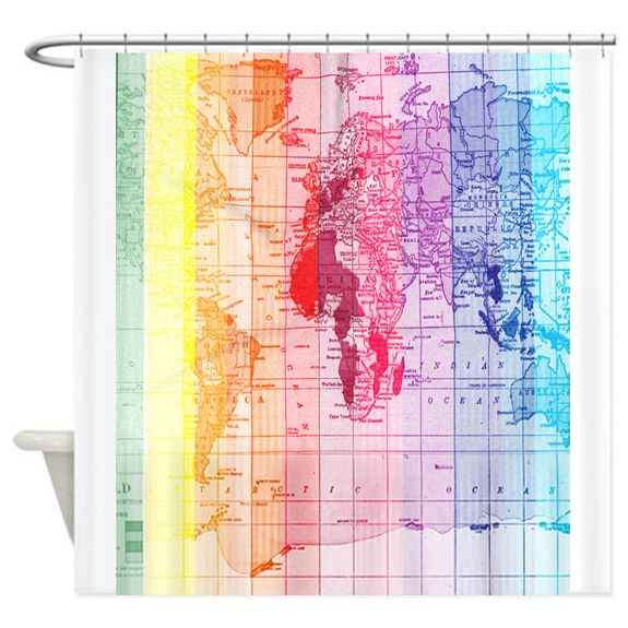 Rainbow World Map Shower Curtain AT | Fabric shower curtains ...
