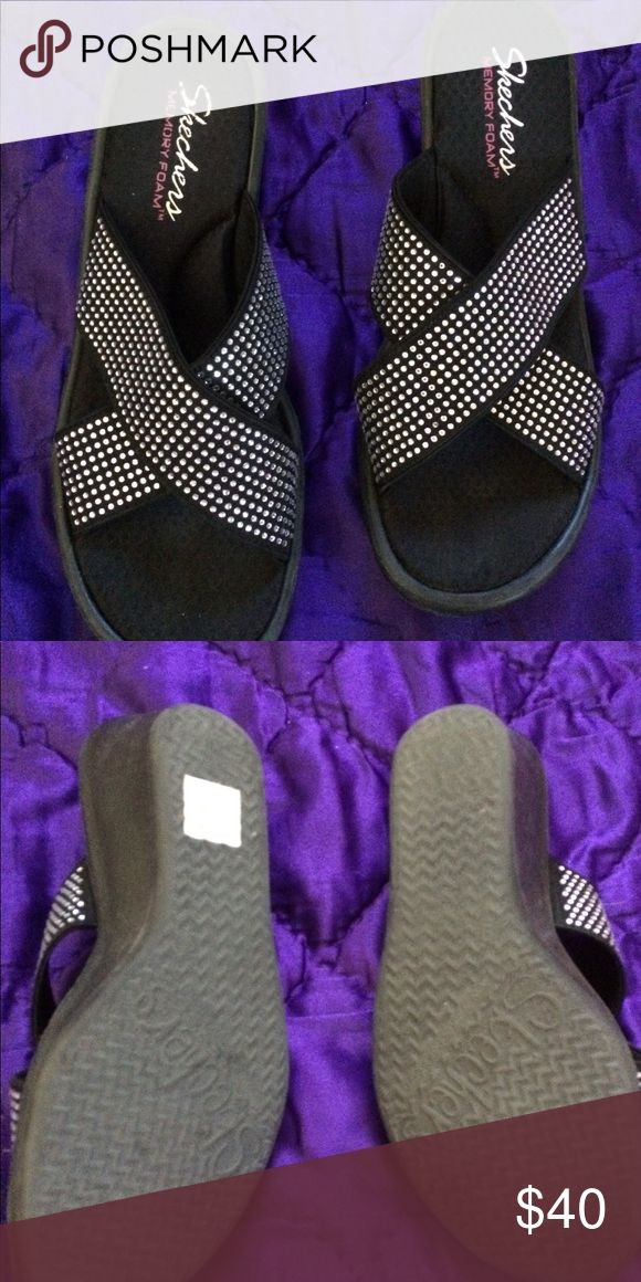 NWOT Skechers Wedges NWOT. Super sparkly and comfy with memory foam. Never used just sat in my closet Skechers Shoes Wedges