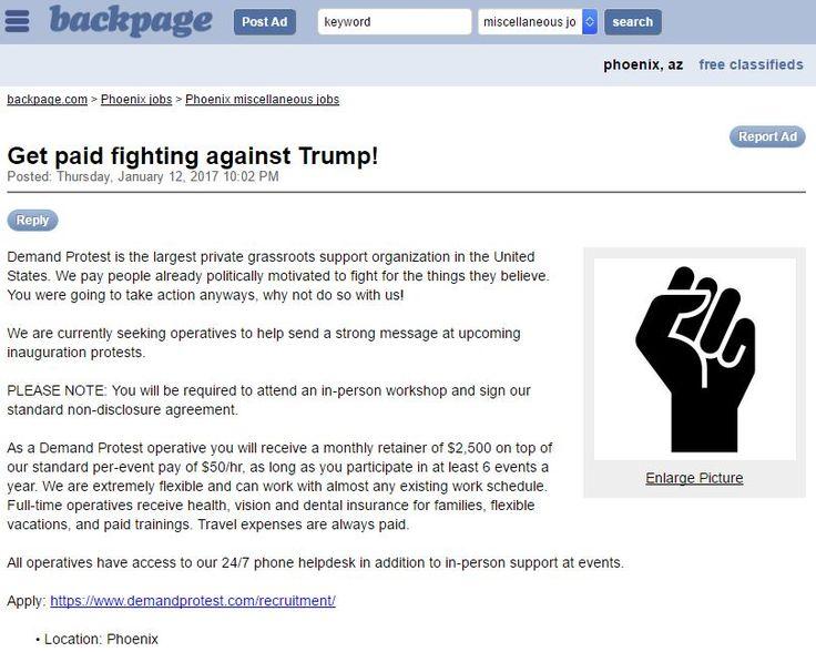 Phoenix Backpage Ad Demand Protest Against Trump Politics Pinterest Politics