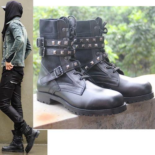 Black Leather Studded Punk Rocker Goth Style Motorcycle Biker Boots Men SKU-1280018