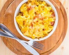 Cassolette de macaronis au bacon (charcuterie végétale pour moi) et à la mimolette Ingrédients