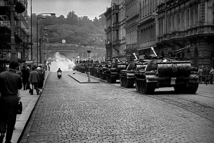 by Josef Koudelka - CZECHOSLOVAKIA. Prague. 21 August 1968. Warsaw Pact tanks invade Prague