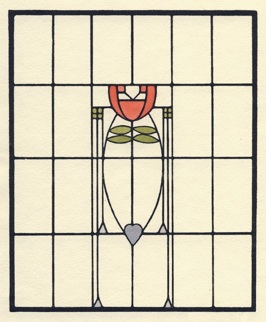 This stained glass design from 1907 was inspired by Glasgow and German abstraction and conventionalization.   It became the basis for the reception room window in the Roycroft Inn.  Image © Dard Hunter Studios/courtesy Pomegranate