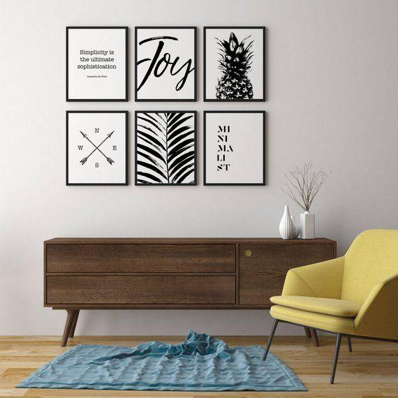 Een set van 6 downloadbare prenten, afdrukbare muur kunst, zwarte en witte muur opknoping, kunst wordt afgedrukt, kinderdagverblijf inrichting, rustiek huisdecor, print set
