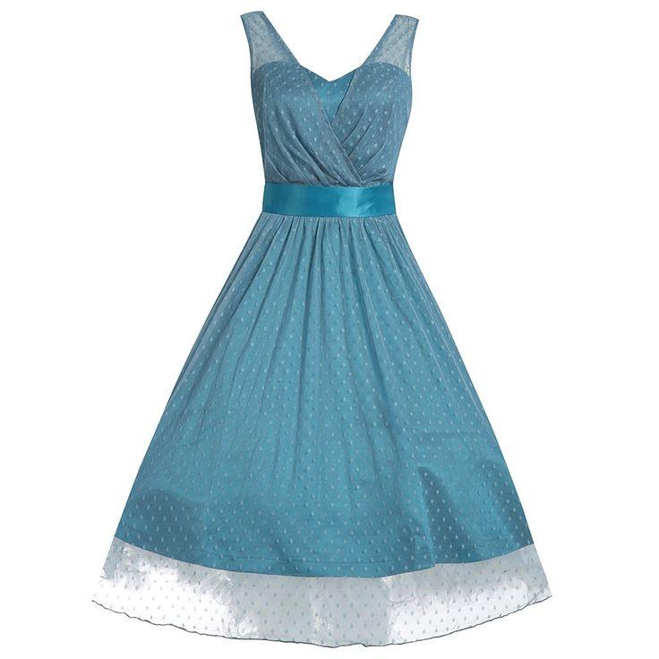Ella Blue Polka Dot Prom Dress | Vintage Style Dresses - Lindy Bop #ICanPinARainbow - win with Lindy Bop