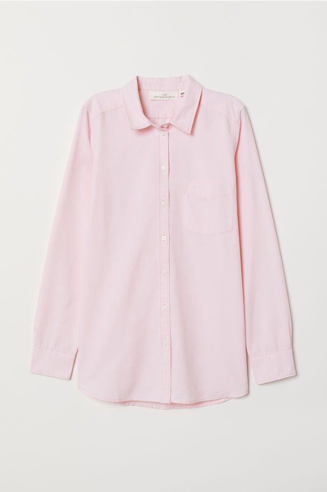 Camisa Rosa Claro Mujer H M Es Camisas Rosadas Camisas Camisas Manga Larga