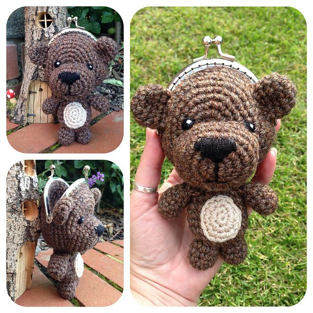 Ravelry: Teddy Bear Coin Purse pattern by Laura Sutcliffe $2.35