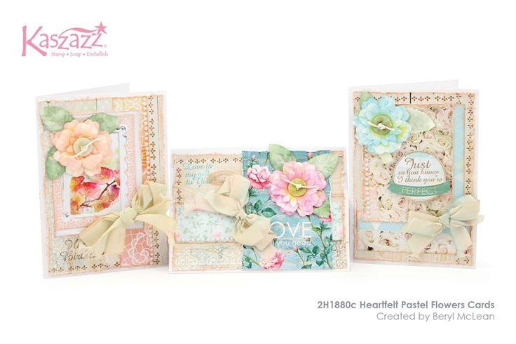 2H1880c Heartfelt Pastel Flowers Cards