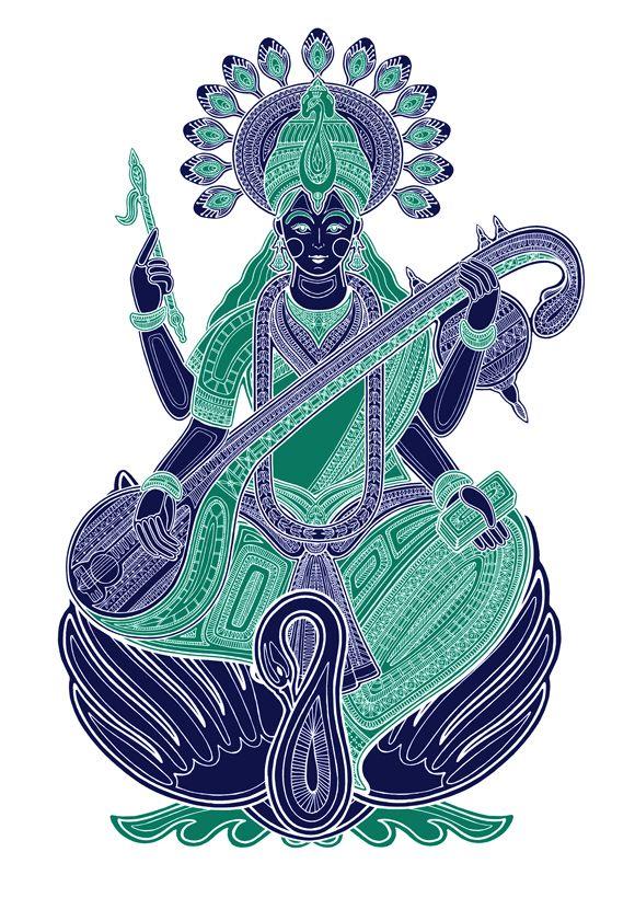 Sarasvati, illustration by Poonam Mistry