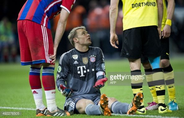 Bayern Munich's goalkeeper Manuel Neuer sits on the pitch while... News Photo | Getty Images