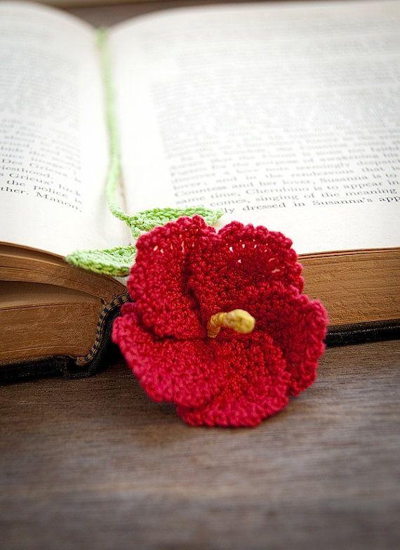 Handmade Crochet Flower Bookmark Red Hibiscus by joyoustreasures