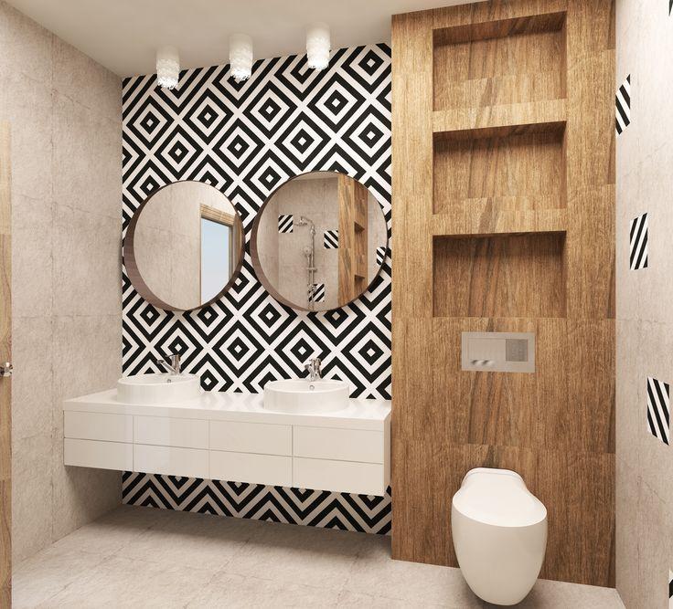#sink #mirror #wood #spotlight #minimalism #white #beige