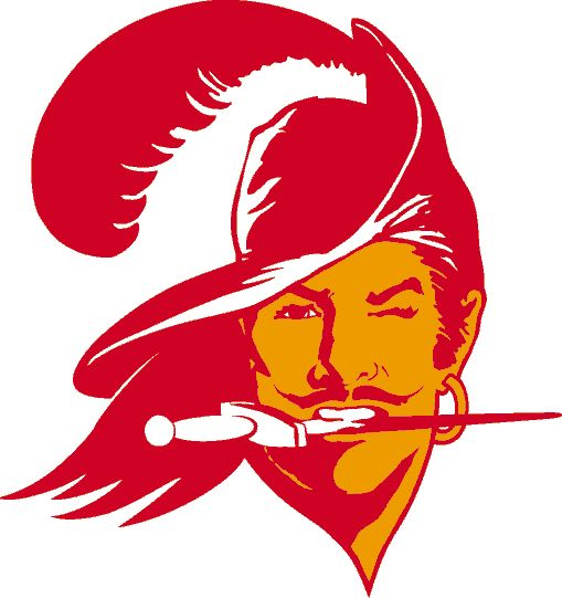 Tampa Bay Buccaneers Primary Logo (1976) - Orange and red Bucco Bruce holding a knife in his mouth