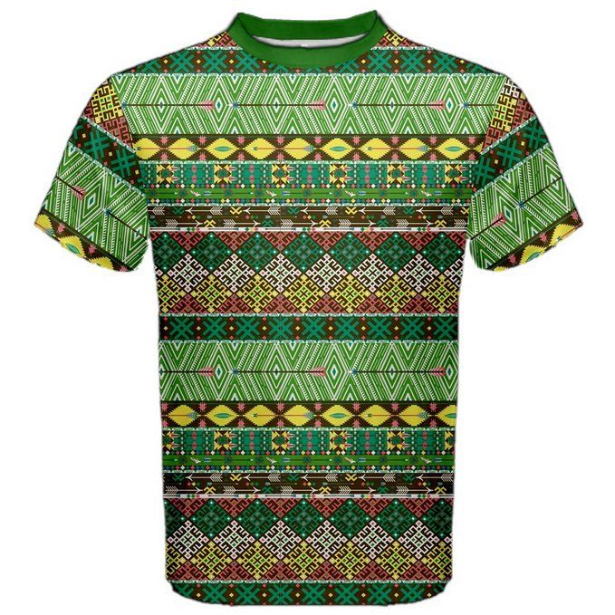 Green Tribal Aztec Pattern with Birds and Flowers Men's Sport Mesh Tee