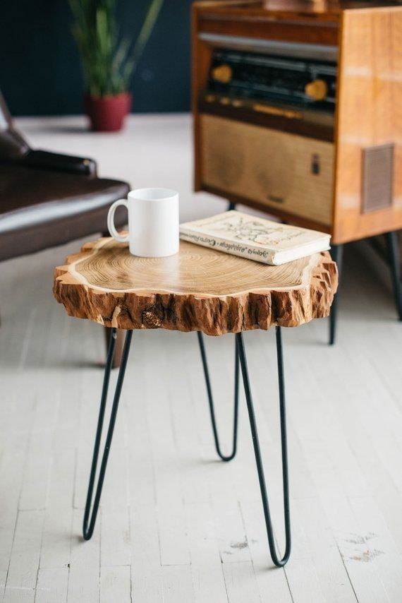 Mid Century Coffee Table Rustic Wood Slab Coffee Table Modern Hairpin Legs End Table Acacia In 2020 Wood Slab Table Rustic Coffee Tables Coffee Table Wood