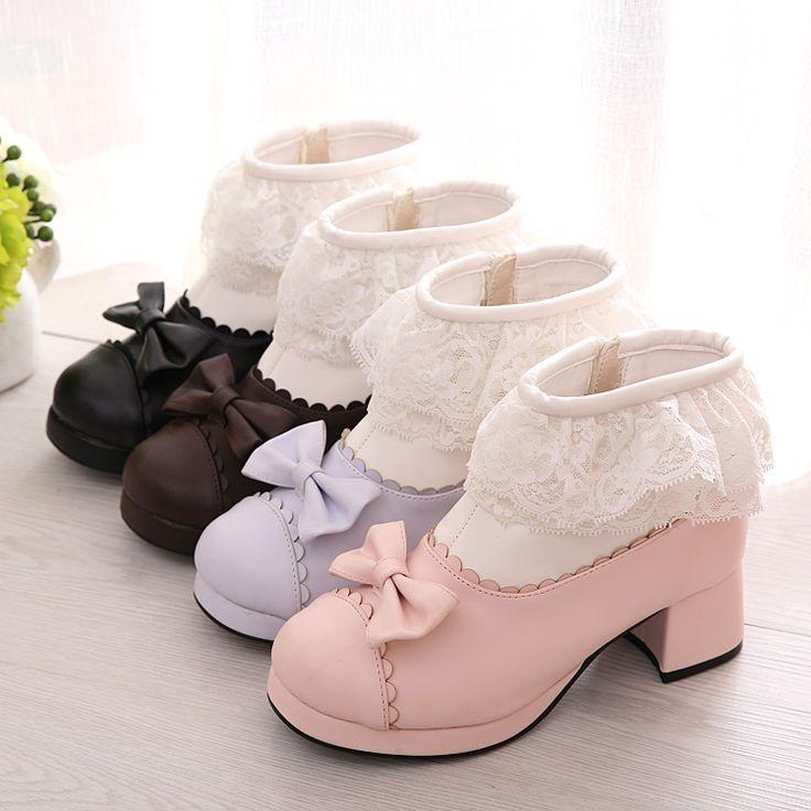 Free Shipping 4 Colors Lolita Kawaii Lace Bow Short Boots LK15120114