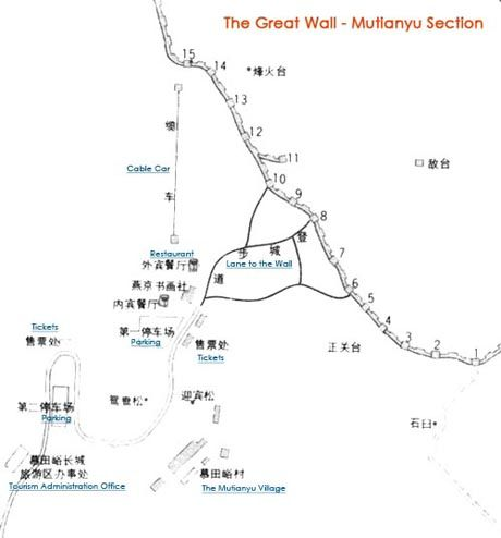 Mutianyu Great Wall, Great Wall Map