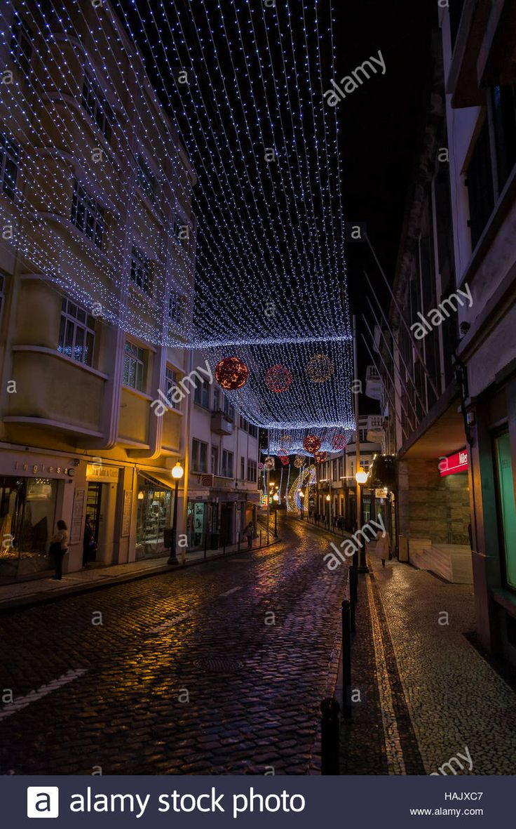 Christmas Lights in Funchal, Madeira Stock Photo
