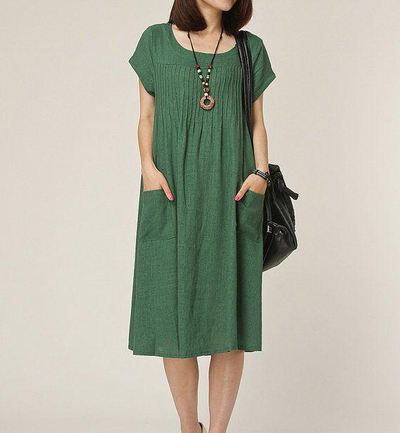 Green linen dress maxi dress short sleeve by originalstyleshop, $59.00