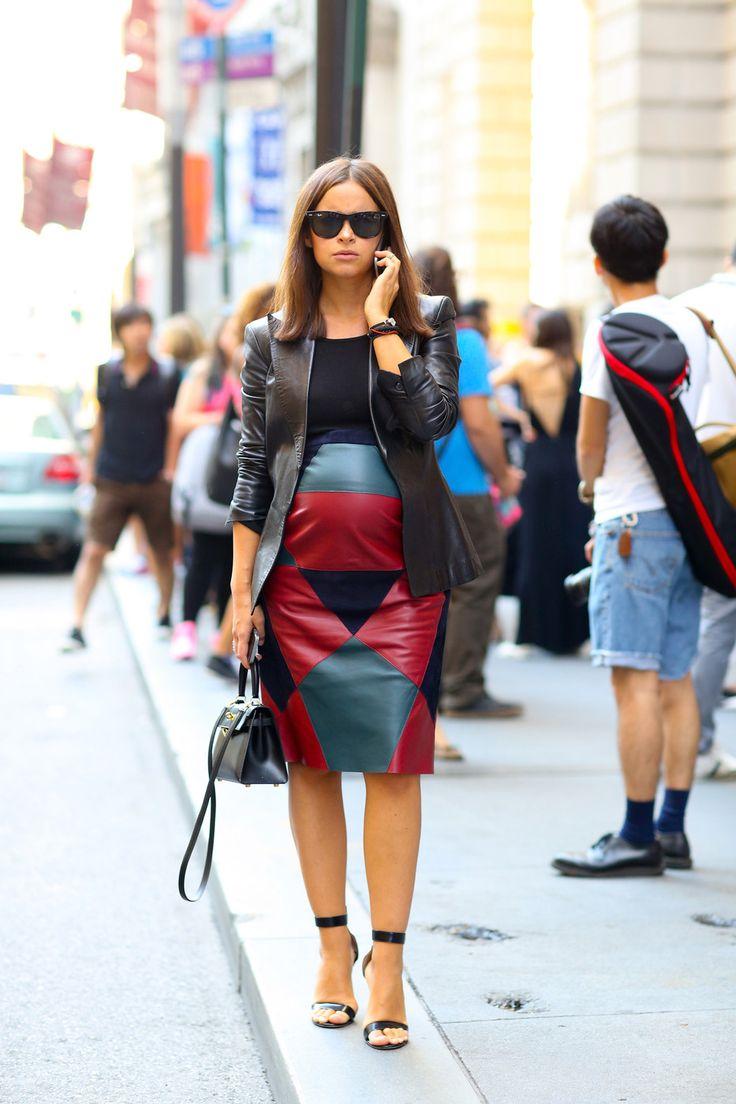 Maternity Leather #streetstyle #nyfw