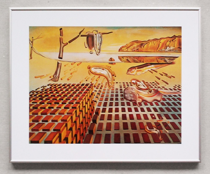 Salvador Dali Persistence of Memory - reprodukcja w szarej ramie - Galeria Plakatu