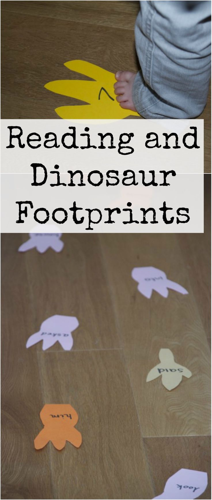 Fun learn to read activity with dinosaur footprints #Reading #Literacy