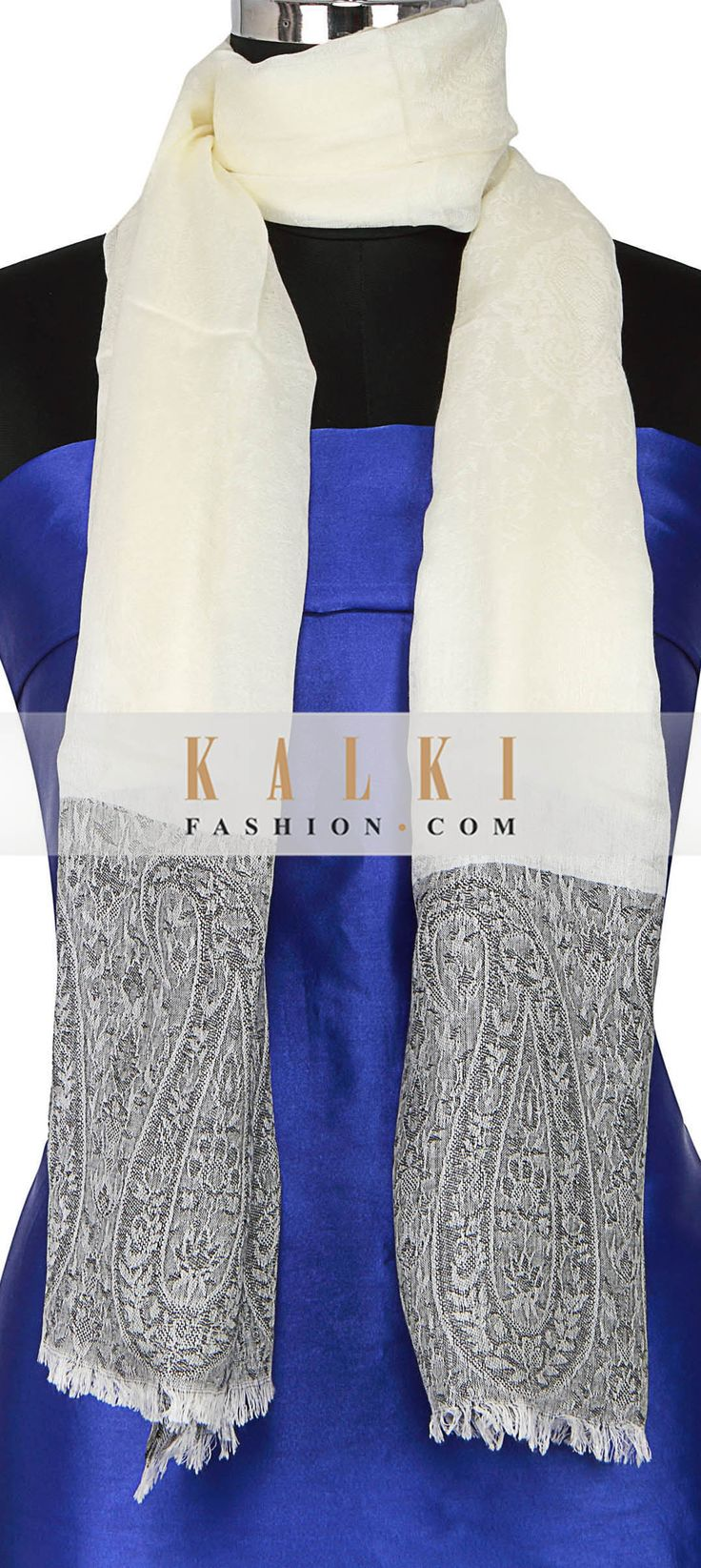 Buy Online from the link below. We ship worldwide (Free Shipping over US$100) http://www.kalkifashion.com/scarf-featuring-in-off-white-with-paisley-motif-embroidery-only-on-kalki.html