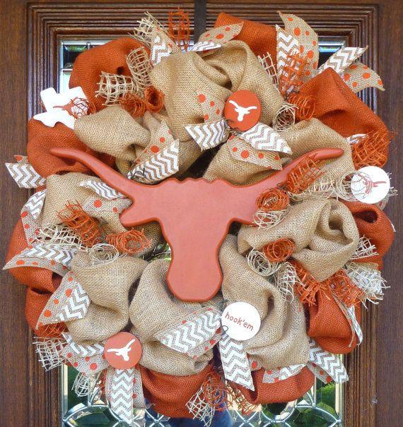 BURLAP and LONGHORNS University of TEXAS Wreath by decoglitz